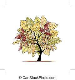 jesień, drzewo, projektować, twój