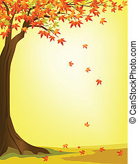jesień, drzewo, tło