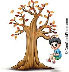 jesień, dzieciaki, drzewo, interpretacja