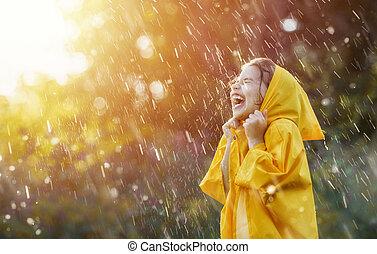 jesień, dziecko, deszcz, pod