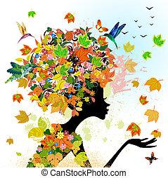 jesień, dziewczyna, fason, kwiaty
