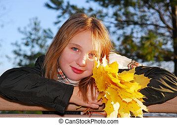 jesień, dziewczyna, liście