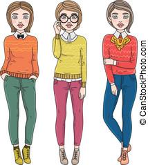 jesień, fason, dziewczyny