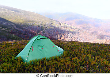 jesień, góry, namiot