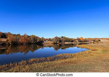 jesień, jasny, jezioro