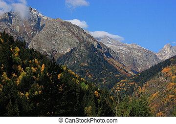 jesień, kaukaz, góry
