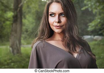 jesień, kobieta, fason, portrait., fall., piękny, girl.