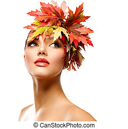 jesień, kobieta, fason, portrait., piękno, jesień, dziewczyna