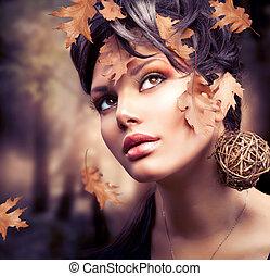 jesień, kobieta, fason, portrait., upadek