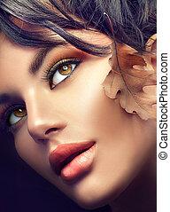 jesień, kobieta, portrait., fall., jesień, makijaż