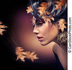 jesień, kobieta, portrait., fason, upadek