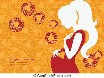 jesień, kobieta, sylwetka, brzemienny
