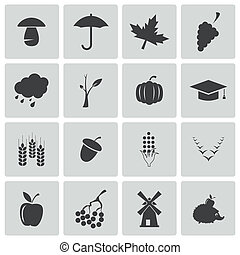 jesień, komplet, czarnoskóry, wektor, ikony