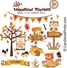jesień, komplet, lesisty teren, zwierzę, wektor