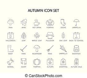 jesień, kreska, set., pack., ikony