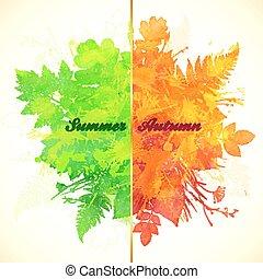 jesień, lato, chorągiew, liście, pora