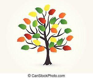 jesień, logo, drzewo