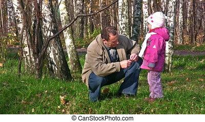 jesień, mały, park, senior, dziewczyna