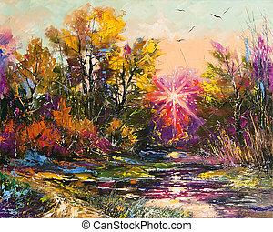 jesień, malarstwo, nafta, -, upadek