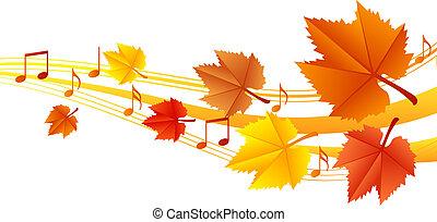 jesień, muzyka, wektor, -, ilustracja