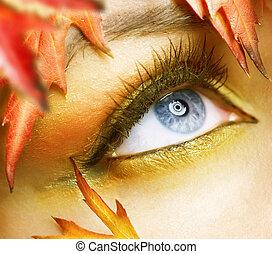 jesień, oczy, makijaż