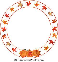 jesień, okrągły, border., dynia