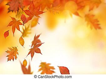 jesień, padające listowie, tło
