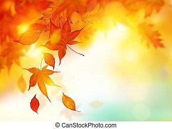 jesień, padające listowie