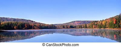jesień, panoramiczny, krajobraz, prospekt