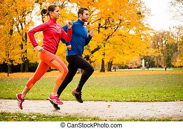jesień, para, jogging, natura