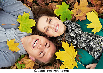 jesień, para, młody, outdoors