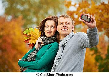 jesień, para outdoors