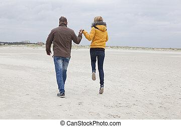 jesień, para, plaża, piaszczysty