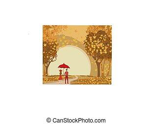 jesień, para, romantyk, chód