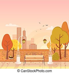jesień, park, i, cityscape, wektor, ilustracja