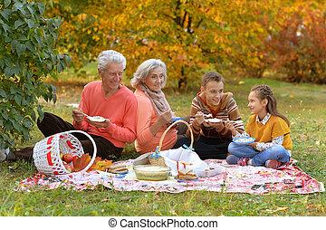 jesień, piknik, rodzina