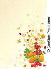 jesień, pora, albo, tło, upadek