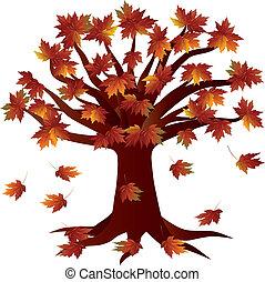 jesień, pora, drzewo, ilustracja, upadek
