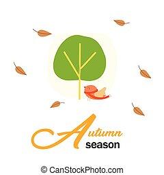jesień, pora, ptaszki, i, drzewo, tło, wektor, wizerunek