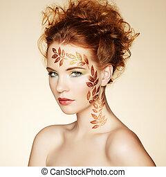 jesień, portret kobiety, z, elegancki, hairstyle., doskonały, makijaż