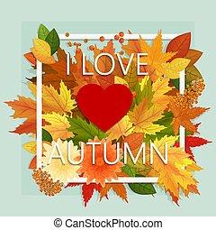 jesień, poster., banner., zbyt, blog, miłość