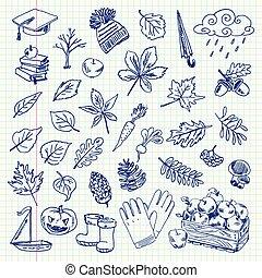 jesień, pozycje, rysunek
