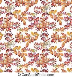 jesień, próbka, seamless, leaves., akwarela, tło, biały