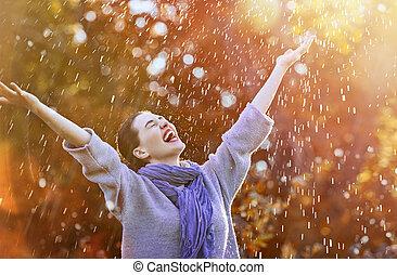 jesień, przelotny deszcz, kobieta, pod