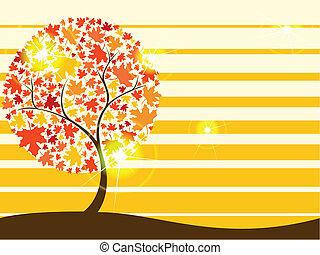 jesień, quirky, drzewo, tło