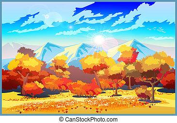 jesień, słońce, las