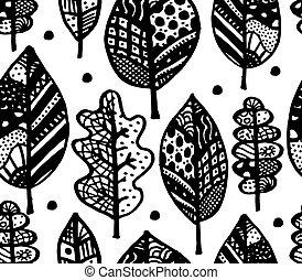 jesień, seamless, próbka, twój, liść, projektować