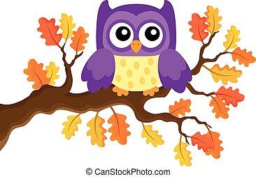jesień, sowa, temat, 1, wizerunek