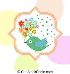 jesień, sprytny, kwiaty, ptak, szczęśliwy