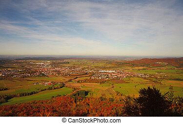 jesień, swabian, niemcy, podczas, hohenzollern, zamek,...